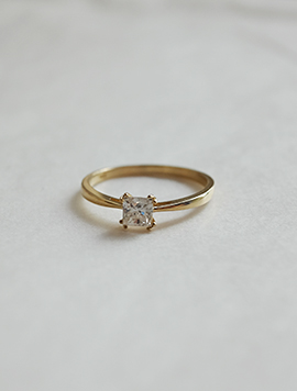 14k Square Simple Ring
