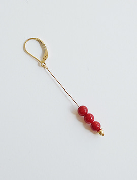Red Coral Onetouch Earring