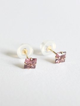 14k gold Pink Square Earring