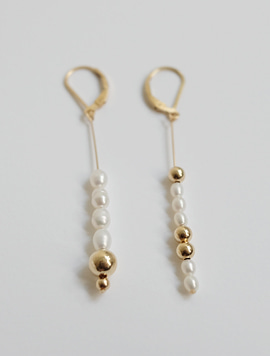 Long Pearl Gold Bal Earring