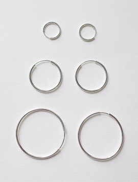 Silver 12mm 20mm 30mm Pipe Ring Earring