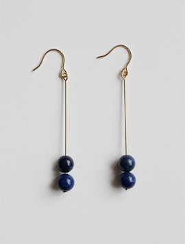 Two Blue Ball Earring