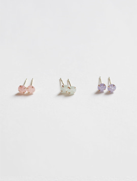 14k Gold Ice Cubic Earring 3Color