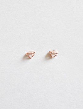 14k Rosegold Solid Diamond Earring