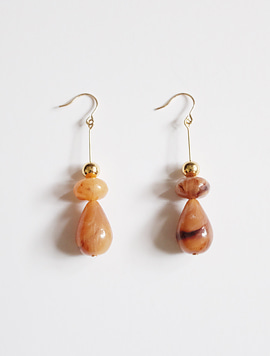 Gold Brown Piece Earring