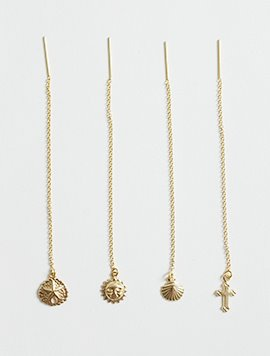 Gold pendant Long Earring