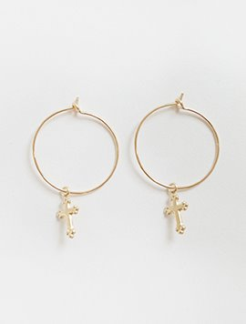 Cross Ring Post Earring